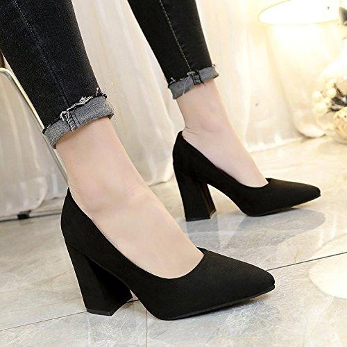 avec Bold Chaussures malades satiné travail des Pointe femelle lumière Noir talons HRCxue Haute et 36 polyvalent Unique qwXfxpIB6