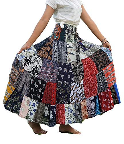 Patchwork Skirt with Belt Maxi Colorful Unique Gypsy Tiered 100% Silky Rayon
