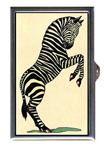 Antique Zebra (Zebra Antique Color Illustration Decorative Pill Box)