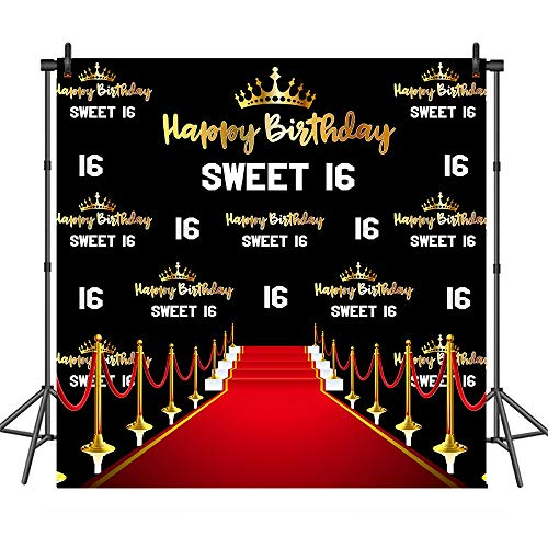 COMOPHOTO Red Carpet Sweet 16th Crown Photo Background 8x8ft Birthday Party Banner Backdrops for Photography Supplies]()