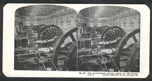 (Sears Roebuck stereoview #39 Engine Room in Power House Chicago IL 1900 +/-)