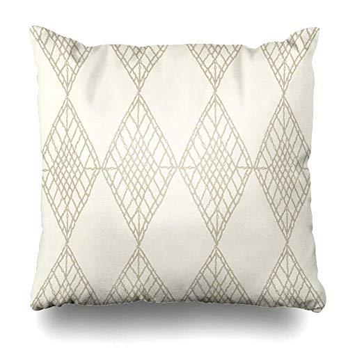 Throw Pillow Covers Chic Patterns Crochet Mesh Carpet Diamond Lace Tribal Bohemian Boho Brocade Folk Home Decor Pillow Case Square Size 18 x 18 Inches Zippered Pillowcase -
