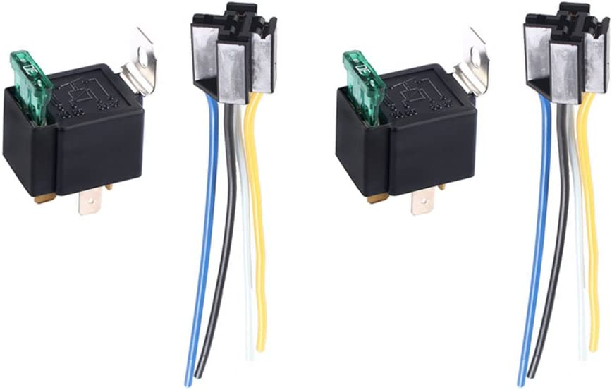 HOUTBY 2Pack Universal 12V 30A Car Auto Heavy Duty Relay Kit Tool 4Pin Fuse On//Off SPST Metal