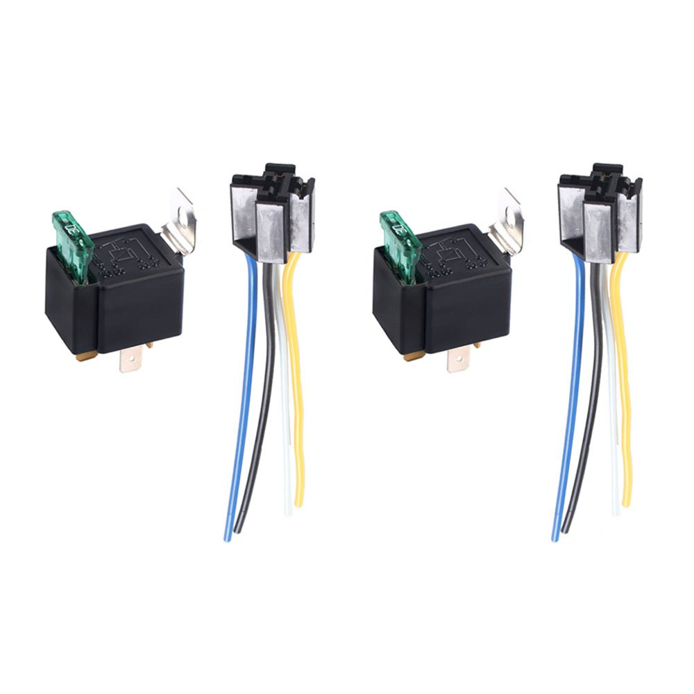 Etopars™ 2 X 12V 30A Car Vehicle Motor Heavy Duty Relay Socket Plug 4Pin Fuse On/Off SPST Wire Metal