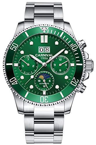 LOREO Mens Automatic Mechanical Watch Luminous Rotating Bezel Steel Band Outdoor Military Waterpoof Watch (Green dial) Bezel Green Wrist Watch
