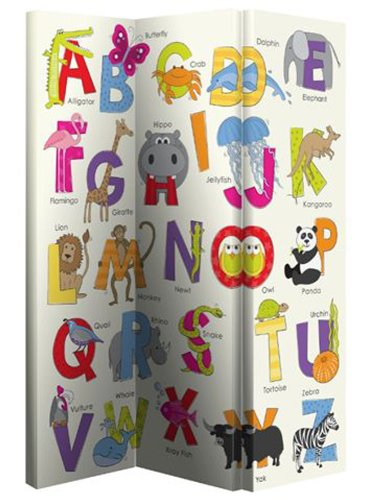 Arthouse Alphabet Opera Fun Screen Home Decoration Room Divider/Canvas Print, Polyester, Multi-Colour, 120 x 150 x 2.5 cm 008143