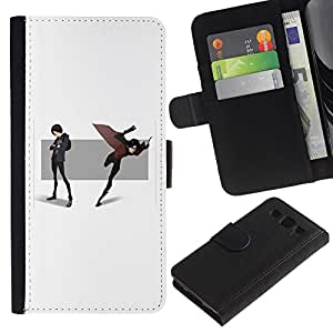 Be-Star la tarjeta de Crédito Slots PU Funda de cuero Monedero caso cubierta de piel Para Samsung Galaxy S3 III I9300 ( Cartoon Comic Scene Hero Mask Cape Flying )