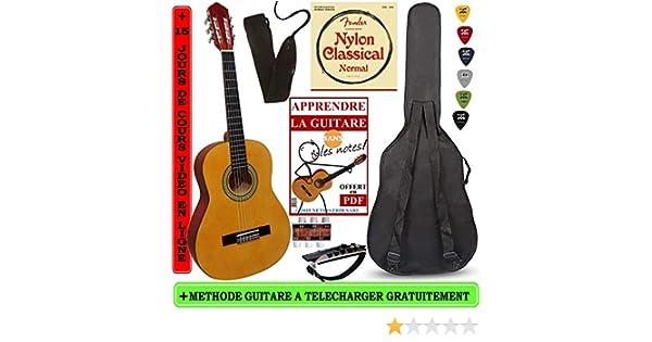 Guitarra clásica 4/4 3/4 con 5 accesorios () negro (3/4, Naturel ...