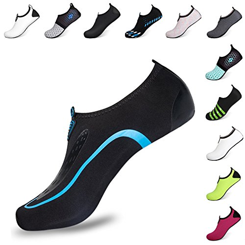 Heeta Barefoot Water Sports Shoes for Women Men Quick Dry Aqua Socks for Beach Pool Swim Yoga Sky Blue L from Heeta