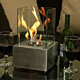 Sunnydaze Cubic Ventless Bio Ethanol Tabletop Fireplace, Stainless Steel