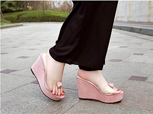 GSHGA Chanclas Pink Flores Damas Zapatillas Sandalias De Transparentes Delgadas De wrFwq0f