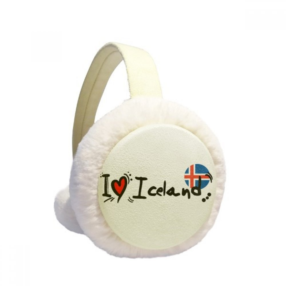 I Love Iceland Word Flag Love Heart Illustration Winter Earmuffs Ear Warmers Faux Fur Foldable Plush Outdoor Gift