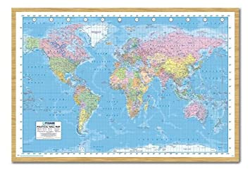 Amazon iposters political world map pin board framed in beech iposters political world map pin board framed in beech wood includes pins 965 x 66 gumiabroncs Image collections