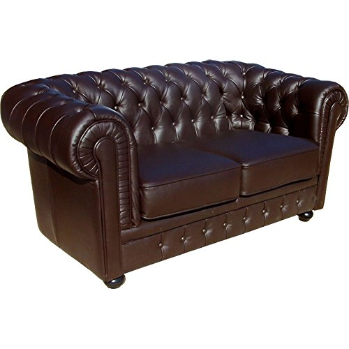 Unbekannt Lola Chesterfield sofá Piel Color marrón Oscuro de ...