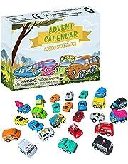 24st jul adventskalender leksak, jul advent nedräkningskalender barnbil leksaksuppsättning, barnfordon leksaker adventskalender nedräkningspresent för barn