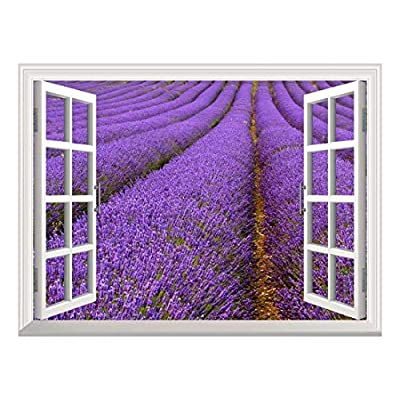Handsome Piece, Removable Wall Sticker Wall Mural Lavender Field Creative Window View Wall Decor, Premium Product