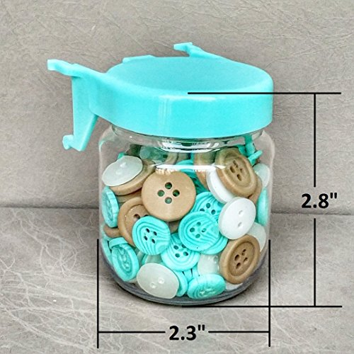 Pegboard Accessories Organizer Storage Jars - Crush & Impact Resistant Plastic Caddy Craft Jars - One-Handed Locking System - Garage Workbench, Crafting, Tools, Jewelry, Sewing - Set of 12 (Blue) by WORLD AXIOM (Image #3)