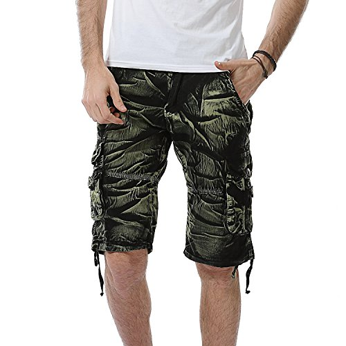 AOYOG Mens Shorts Casual Cargo Shorts Athleisure Sports Shorts Cotton, Black Green Camo 6603, Lable size 40(US 38)
