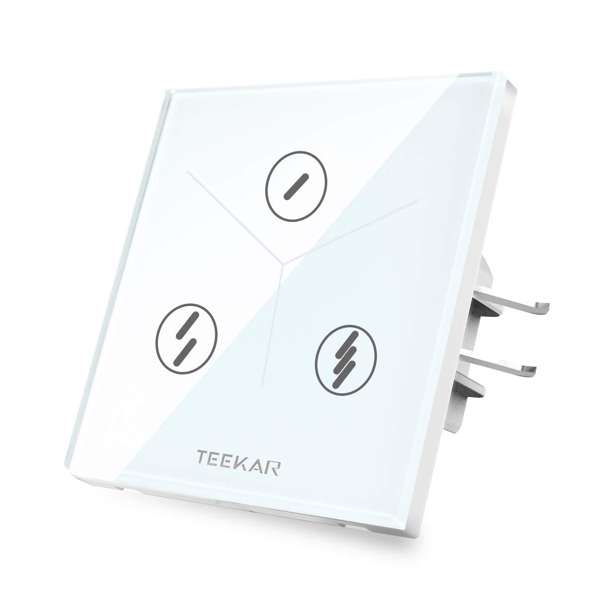 TEEKAR Touch Lichtschalter 1 Gang Alexa WLAN WiFi Smart Intelligente Schalter Kompatibel Mit Google Home//IFTTT,Drahtlose Fernbedienung,Timing-Funktion