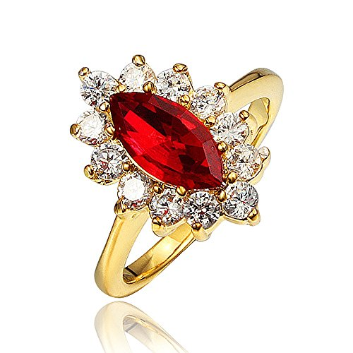 Red Ruby Princess Crown Ring Size UK Q Austrian Crystal Mother Gift For...