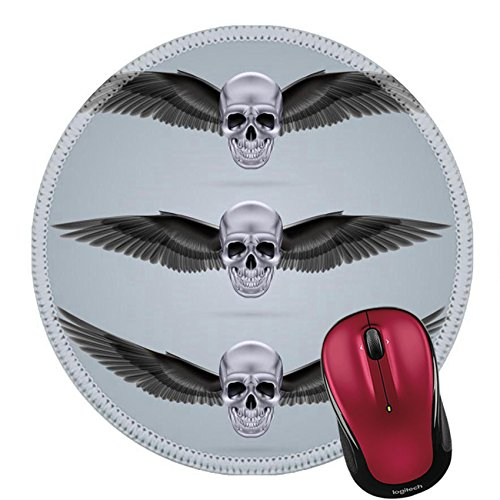 Liili Round Mouse Pad Natural Rubber Mousepad IMAGE ID: 28920283 Three metal chrome skulls with two crow wings ()