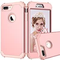 GreenElec iPhone 7 Plus Case - Hybrid Heavy Duty Dual Layer Armor Defender Protective Rubber Case with Fit Perfect Shock Absorbing Scratch Proof Shockproof for iPhone 7 Plus 5.5 Inch (Rose Gold)