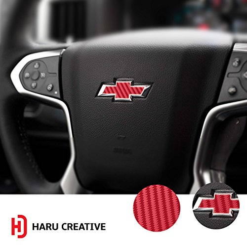 Haru Creative - Steering Wheel Bowtie Overlay Insert Sticker Decal Compatible with and Fits Chevrolet Suburban 2007-2014 - Carbon Fiber Red