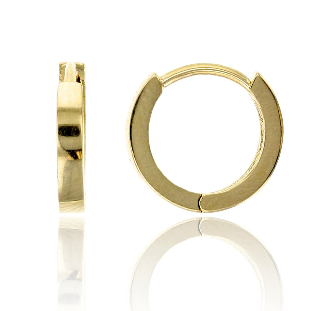 14K Yellow Gold High Polished 1.80x10.00mm Huggie Earring
