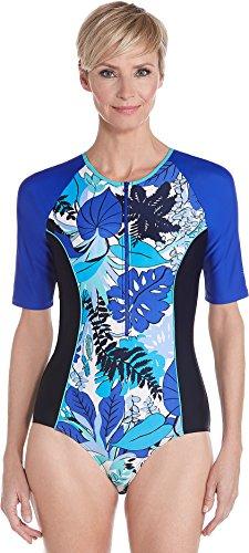 Coolibar UPF 50+ Women's Short Sleeve Swimsuit - Sun Protective (Large- Blue (Short Sleeve Sun Life)