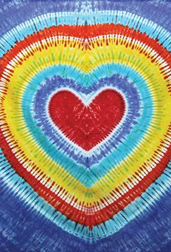 (4Rissa Rainbow Heart Tie Dye Tapestry Hippie Twin Bedding Throw Beach Blanket Wall Hanging Home Decor)