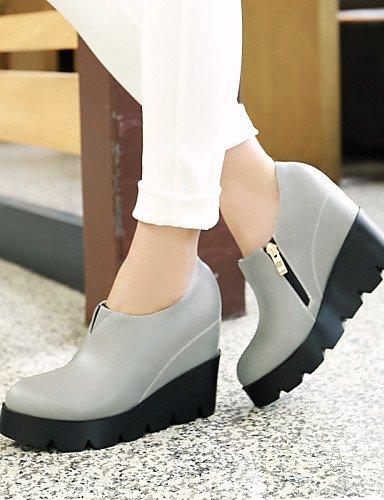 Chaussures air Bottes Chaussons décontracté fermé Femme compensé pour synthétique Talon Bottes en Chaussons Citior gris Plein Bout compensées Femme pour Txwt4p4