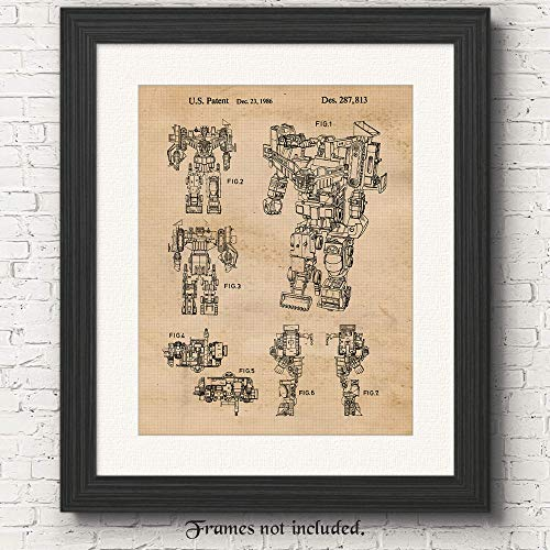 Original Transformers Constructicon Patent Poster Prints, Set of 1 (11x14) Unframed Photo, Wall Art Decor Gifts Under 15 for Home, Office, Man Cave, College Student, Teacher, Comic-Con & Movies Fan