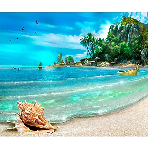 DIY 5D Diamond Painting by Number Kits Full Drill Rhinestone Embroidery Cross Stitch Pictures Arts Craft for Home Wall Decor,Beach - 11.8x15.7 inches