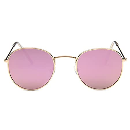 bd2143225 Pingenaneer Small Round Retro Sunglasses Metal Frame UV Protection Vintage  Men and Women Eyewear(Gold-Pink): Amazon.co.uk: Kitchen & Home