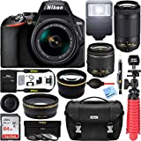 Nikon D3500 24.2MP Digital SLR Camera with AF-P DX 18-55mm & 70-300mm f/4.5-6.3G ED VR Lens (1590) with 64GB Deluxe Accessory Bundle