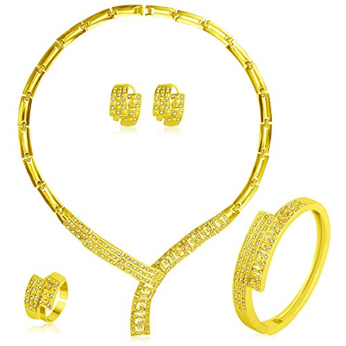 MOOCHI Gold Plated Y Shape Necklace Bracelet Earrings Ring Jewellry Set for Women India Dubai