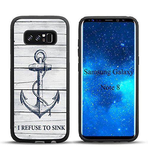 Samsung Note 8 Case Wood grain navy anchor I REFUSE, used for sale  Delivered anywhere in USA