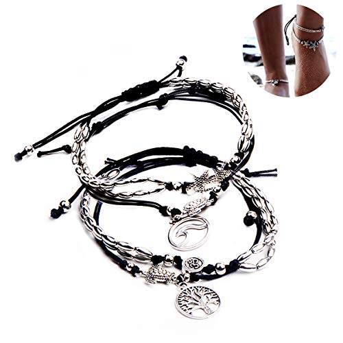 4 Pcs Handmade Vintage Starfish Turtle Charm Anklet and Yoga Om Foot Chain for Women Teen Girl Summer Beach Jewelry, Tree of - Turtle Vintage