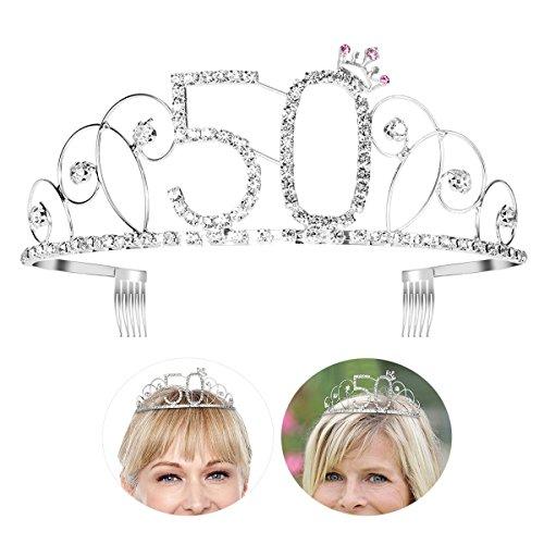 Frcolor Happy Birthday 50th Silver Crystal Rhinestone Tiara Crown]()