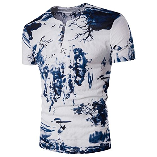 Bohemia Retro Fashion Printing O-Neck Shirt Tops Für Gentleman, Amlaiworld Kurzarm T-Shirt Bluse (XXL, Weiß)