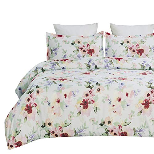 Vaulia Lightweight Soft Microfiber Duvet Cover Set, Floral Printed Pattern, White/Pink Color - King