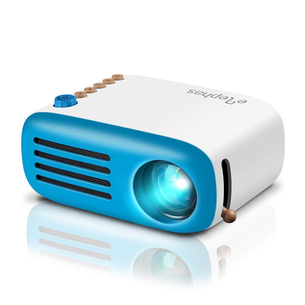 Mini Proyector ELEPHAS, Proyector LED portátil móvil Regalo para niños, Soporte HD 1080P Compatible HDMI AV USB Micro, Conectar a PC Laptop Game