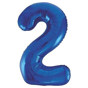 Unique Party- Globo gigante número 2, Color azul, 86 cm (55742)