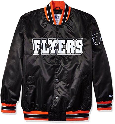 STARTER NHL Philadelphia Flyers Men's The Closer Satin Full Snap Jacket, Large, Black