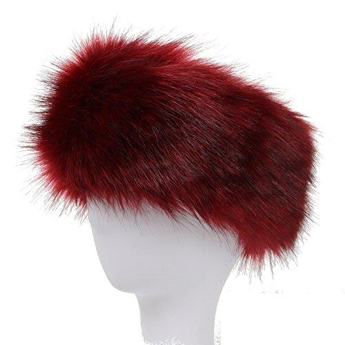 La Carrie Faux Fur Headband with Stretch Women's Winter Earwarmer Earmuff (Burgendy) (Red Fox Fur Headband)