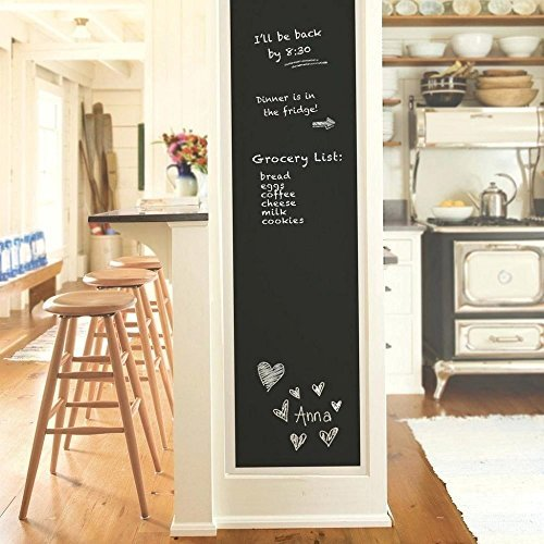 Wall Decal,Chalkboard Wall Sticker, DIY Vinyl Chalkboard Removable Blackboard Wall Sticker Decal PVC Wall Decal Self Adhesive DIY Reusable Erasable Restaurant Home Office with 5 Free Chalks (Decals Make Wall Vinyl)