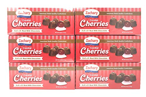 Zachary Milk Chocolate Cordial Cherries - 6 Boxes, 36 oz Total (6 Boxes (36 oz))