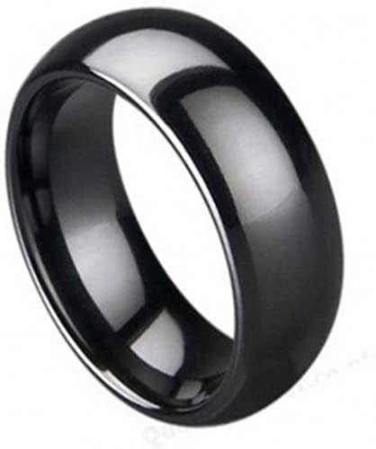 Wedding Bands Classic Bands Flat Bands w//Edge Ceramic Black 8mm Brushed and Polished Band Size 10