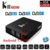 KIII PRO DVB-S2 DVB-T2 DVB-C Tv Box, YTAT Smart Streaming Media Players, Android 7.1 3GB+16GB S912 Octa Core 4K 2.4G/5G Wifi Bluetooth 4.0 and 3D Support by YTAT
