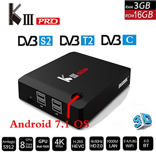 KIII PRO S912 Octa-core Android 7.1 HYBRID 4K TV BOX, YTAT Smart Android TV box Fully Loaded Unlocked, 2.4G/5G Wifi Bluetooth 4.0 and 3D Support by YTAT by YTAT